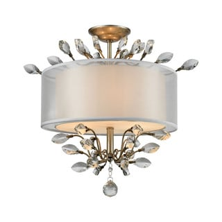 Elk Asbury 3-light LED Semi Flush in Aged Silver
