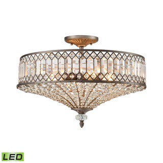 Elk Paola 4-light LED Semi Flush in Weathered Zinc