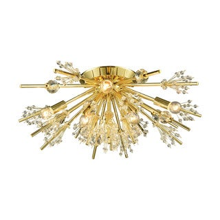 Elk Starburst 8-light LED Semi Flush in Polished Gold
