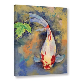 ArtWall Michael Creese's Koi with Japanese Maple Leaf, Gallery Wrapped Canvas