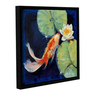 ArtWall Michael Creese's Koi and White Lily, Gallery Wrapped Floater-framed Canvas