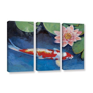 ArtWall Michael Creese's Koi and Water Lily, 3 Piece Gallery Wrapped Canvas Set
