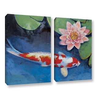 ArtWall Michael Creese's Koi and Water Lily, 2 Piece Gallery Wrapped Canvas Set