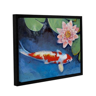 ArtWall Michael Creese's Koi and Water Lily, Gallery Wrapped Floater-framed Canvas