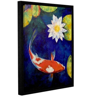 ArtWall Michael Creese's Kohaku Koi and Water Lily, Gallery Wrapped Floater-framed Canvas