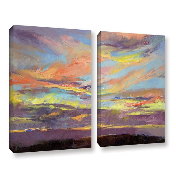 ArtWall Michael Creese's Atahualpa Sunset, 2 Piece Gallery Wrapped Canvas Set