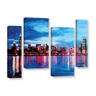 ArtWall Marcus/Martina Bleichner's Chicago Skyline at Dusk, 4 Piece Gallery Wrapped Canvas Staggered Set