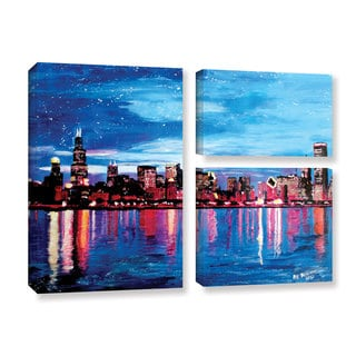 ArtWall Marcus/Martina Bleichner's Chicago Skyline at Dusk, 3 Piece Gallery Wrapped Canvas Flag Set