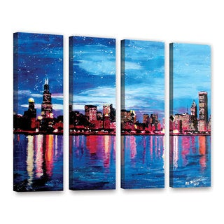 ArtWall Marcus/Martina Bleichner's Chicago Skyline at Dusk, 4 Piece Gallery Wrapped Canvas Set