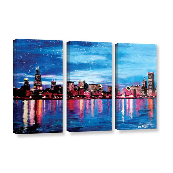 ArtWall Marcus/Martina Bleichner's Chicago Skyline at Dusk, 3 Piece Gallery Wrapped Canvas Set