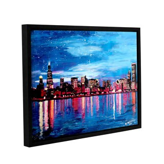 ArtWall Marcus/Martina Bleichner's Chicago Skyline at Dusk, Gallery Wrapped Floater-framed Canvas