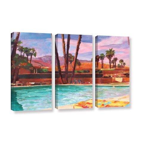 ArtWall Marcus/Martina Bleichner's The Palm Springs Pool , 3 Piece Gallery Wrapped Canvas Set