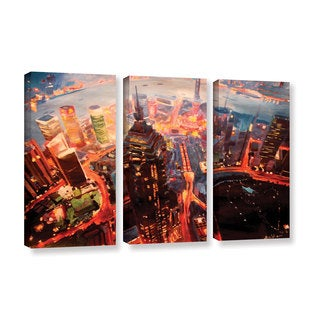 ArtWall Marcus/Martina Bleichner's Shanghai Skyline at Dusk, 3 Piece Gallery Wrapped Canvas Set