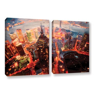 ArtWall Marcus/Martina Bleichner's Shanghai Skyline at Dusk, 2 Piece Gallery Wrapped Canvas Set