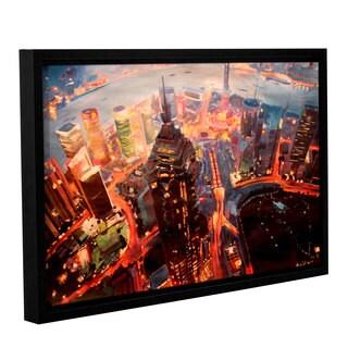 ArtWall Marcus/Martina Bleichner's Shanghai Skyline at Dusk, Gallery Wrapped Floater-framed Canvas