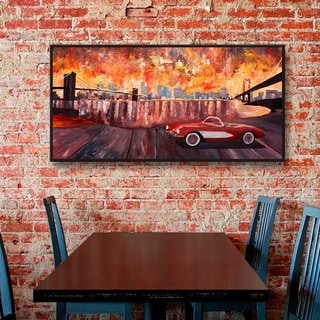 ArtWall Marcus/Martina Bleichner's New York City-Two Bridges with a Corvette, Gallery Wrapped Floater-framed Canvas