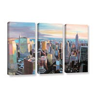 "Marcus/Martina Bleichner's ""New York City Skyline in Sunlight"" 3-Piece Gallery Wrapped Canvas Set"