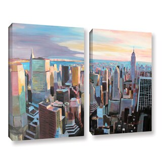 ArtWall Marcus/Martina Bleichner's New York City Skyline in Sunlight, 2 Piece Gallery Wrapped Canvas Set