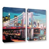 ArtWall Marcus/Martina Bleichner's New York City-Manhattan Bridge, 2 Piece Gallery Wrapped Canvas Set