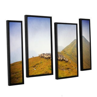 ArtWall Dragos Dumitrascu's Far in the Distance, 4 Piece Floater Framed Canvas Staggered Set