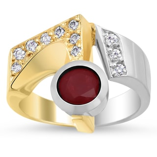 14k Two-tone Gold 1/4ct TDW Diamond and Ruby Ring (F-G, VS1-VS2)