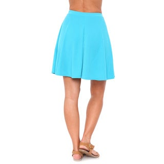 White Mark Women's Solid Color Flared Mini Skirt