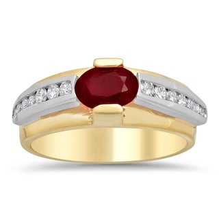 Artistry Collections 14k Two-tone Gold 1/3ct TDW Diamond and Ruby Ring (F-G, VS1-VS2)