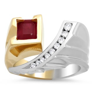 Artistry Collections 14k Two-tone Gold 1/4ct TDW Diamond Ruby Ring (F-G, VS1-VS2)