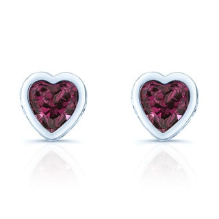 14k White Gold Rhodolite Garnet Heart Earrings