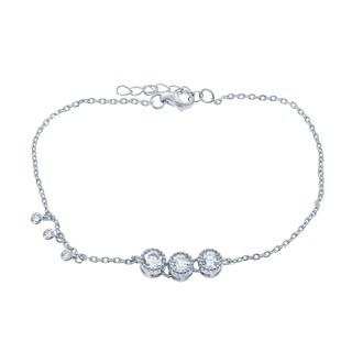 La Preciosa Sterling Silver 3-stone Cubic Zirconia Bar Bracelet