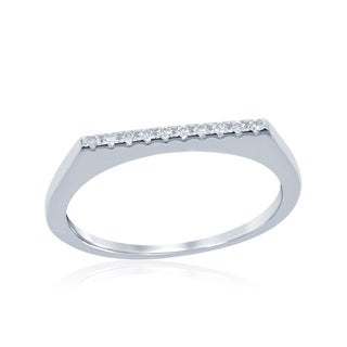 La Preciosa Sterling Silver Thin Cubic Zirconia Bar Ring