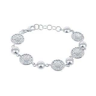 La Preicosa Sterling Silver Half-Bead and Flower Circle Link Bracelet