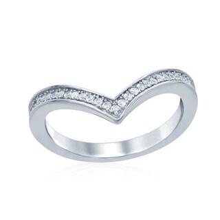 La Preciosa Sterling Silver Cubic Zirconia Curved Band Ring