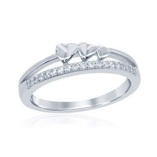 La Preciosa Sterling Silver Cubic Zirconia Band with Hearts Ring