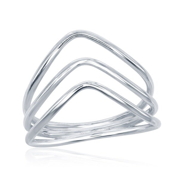 La Preciosa Sterling Silver Triple-band Curved Ring. Opens flyout.
