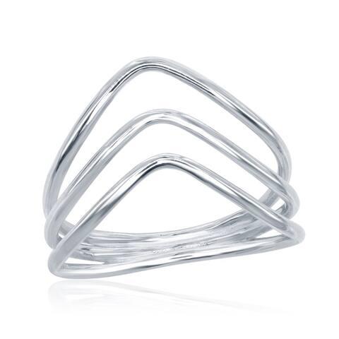 La Preciosa Sterling Silver Triple-band Curved Ring