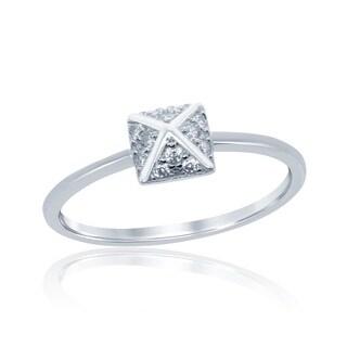 La Preciosa Sterling Silver Cubic Zirconia Small Pyramid Style Ring