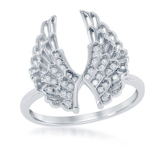 La Preciosa Sterling Silver Cubic Zirconia Angel Wings Ring