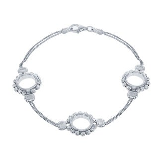 La Preciosa Sterling Silver Diamond-cut Moon Beads Circle Link Bracleet