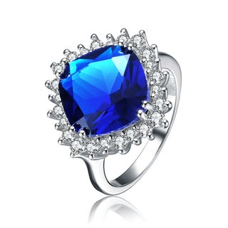 Collette Z Sterling Silver with Rhodium Plated Sapphire Blue Cushion with Clear Round Cubic Zirconia Halo Solitaire Ring