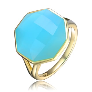 Collette Z Gold Overlay Sky Blue Cubic Zirconia Octagon Ring