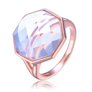 Collette Z Rose Overlay Clear Cubic Zirconia Octagon Ring