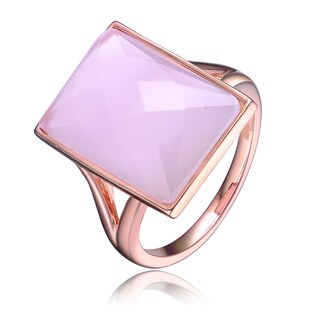 Collette Z Rose Gold Overlay Pink Cubic Zirconia Rectangle Ring