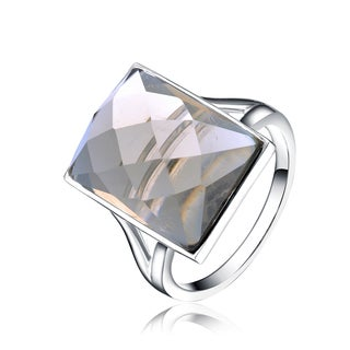 Collette Z Rhodium Smokey Cubic Zirconia Rectangle Ring