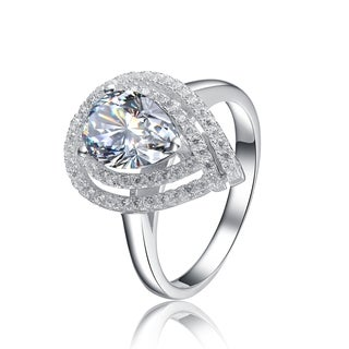 Collette Z Sterling Silver with Rhodium Plated Clear Pear with Round Cubic Zirconia Double Halo Engagement Ring