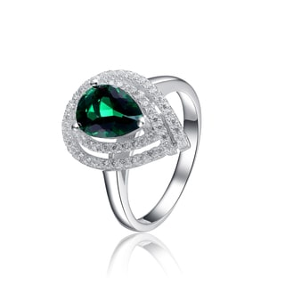 Collette Z Sterling Silver Green Pear Cubic Zirconia Ring