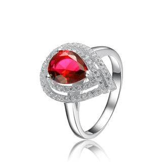 Collette Z Sterling Silver with Rhodium Plated Ruby Red Pear with Clear Round Cubic Zirconia Double Halo Engagement Ring