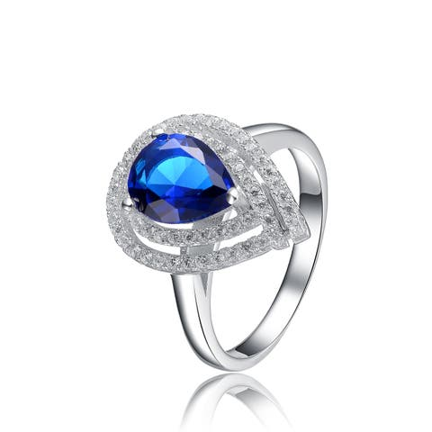 Collette Z Sterling Silver with Rhodium Plated Sapphire Blue Pear with Clear Round Cubic Zirconia Double Halo Engagement Ring