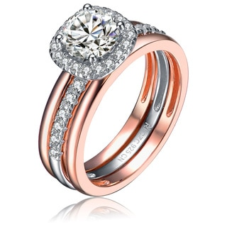 Collette Z Sterling Silver and Rose Gold Overlay Round Cut Cubic Zirconia Ring