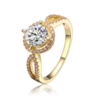 Collette Z Sterling Silver Gold Plated Cubic Zirconia Bold Statement Ring